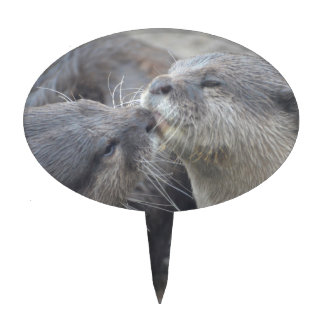 Kissing River Otters Cake Topper