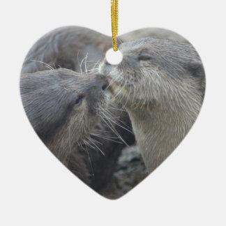 Kissing River Otters Ceramic Ornament