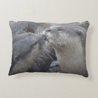 Kissing River Otters Decorative Pillow