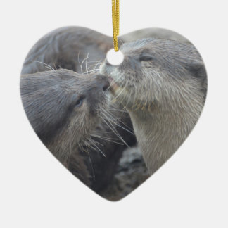 Kissing River Otters Double-Sided Heart Ceramic Christmas Ornament
