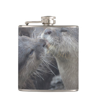 Kissing River Otters Hip Flask