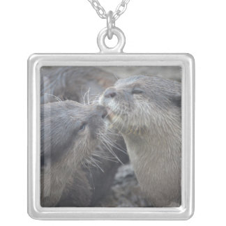 Kissing River Otters Custom Necklace