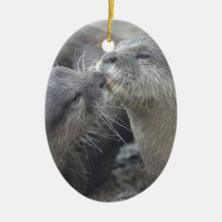 Kissing River Otters Ornaments