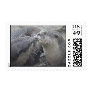 Kissing River Otters Postage Stamps