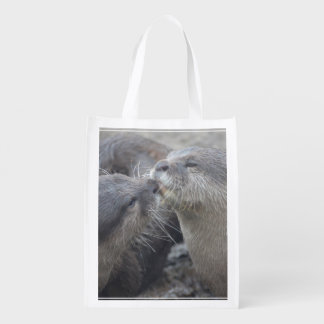 Kissing River Otters Grocery Bags