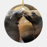 Kissing San Francisco Pier 39 Sea Lions Double-Sided Ceramic Round Christmas Ornament