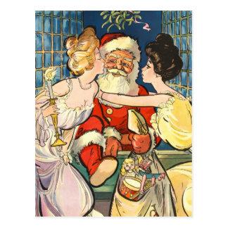 Kissing Santa Claus Postcard