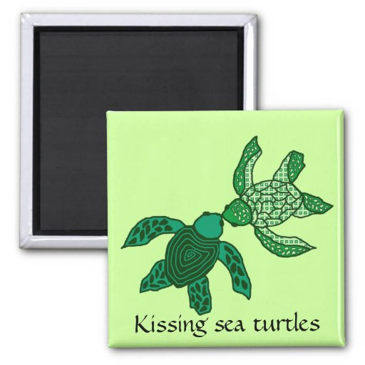 Kissing sea turtles magnet