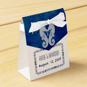 Beach Themed Kissing Seahorses Favor Box in Navy