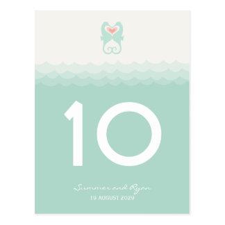 Kissing Seahorses Hearts Beach Summer Table Number Postcard
