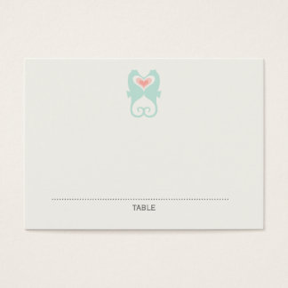 Kissing Seahorses Hearts Beach Wedding Place Cards