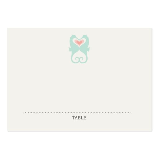 Kissing Seahorses Hearts Beach Wedding Place Cards Business Cards