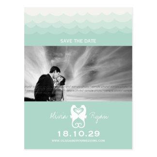 Kissing Seahorses Love Hearts Beach Save The Date Postcard