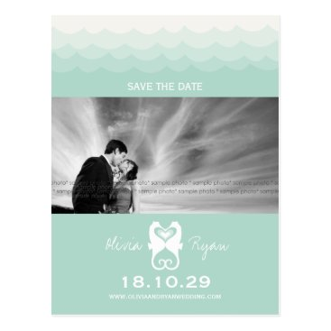 Valentines Themed Kissing Seahorses Love Hearts Beach Save The Date Postcard