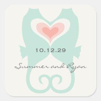 Kissing Seahorses Love Hearts Beach Summer Wedding Square Sticker