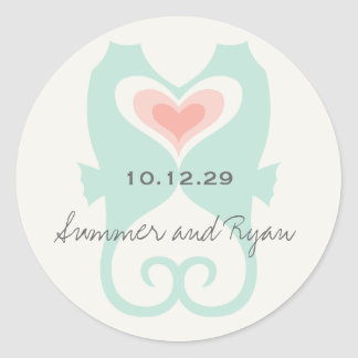 Kissing Seahorses Love Hearts Beach Summer Wedding Classic Round Sticker