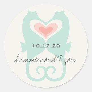 Kissing Seahorses Love Hearts Beach Summer Wedding Round Stickers