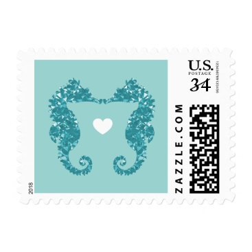 Beach Themed Kissing Seahorses Stamp - Customizable!
