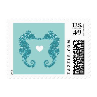 Kissing Seahorses Stamp - Pick your BKG color!