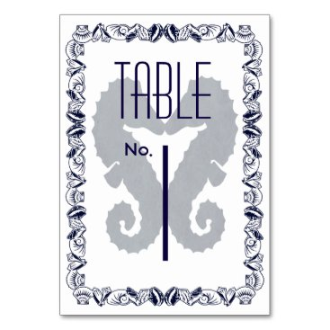 Beach Themed Kissing Seahorses Table Number Cards in Navy