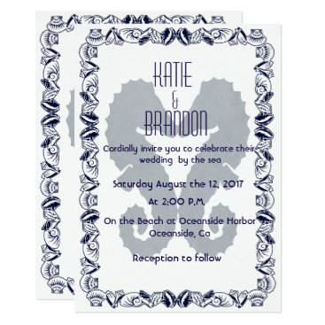 Beach Themed Kissing Seahorses Wedding Invitation in Navy