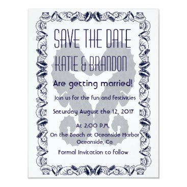 Beach Themed Kissing Seahorses Wedding Save the Date in Navy Card