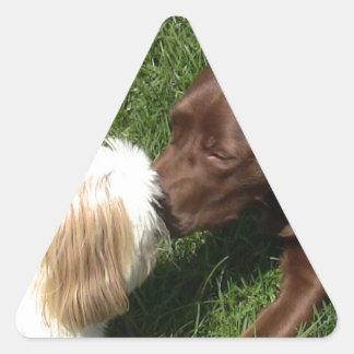 Kissing Shihtzu & Choc. Lab Triangular Triangle Sticker