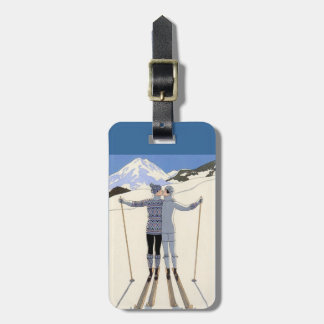 kissing skiers - vintage travel poster tag for luggage