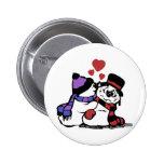 Kissing Snowman Button