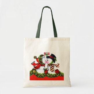 Kissing Snowman Couple Tote Bag