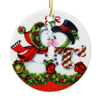 Kissing Snowman Couple Ceramic Ornament