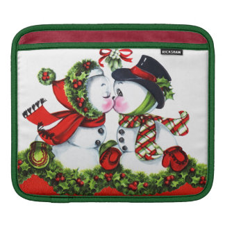 Kissing Snowman Couple iPad Sleeve