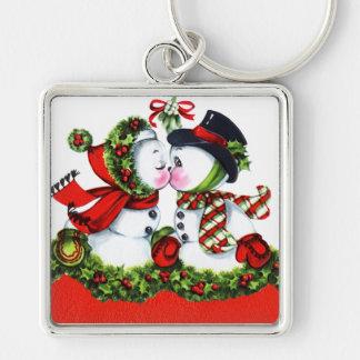 Kissing Snowman Couple Keychain