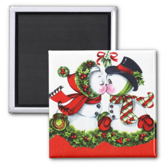 Kissing Snowman Couple Magnet