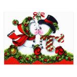 Kissing Snowman Couple Postcard