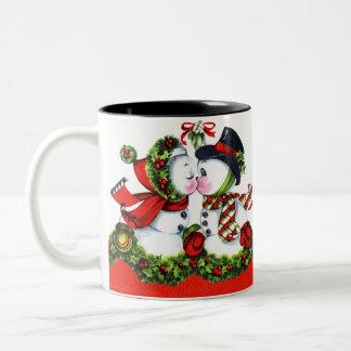 Kissing Snowman Couple Two-Tone Coffee Mug