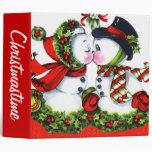 Kissing Snowman Couple Vinyl Binder