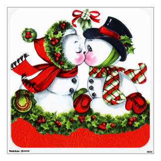 Kissing Snowman Couple Wall Sticker