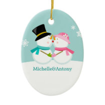 Kissing Snowmen Christmas Ceramic Ornament