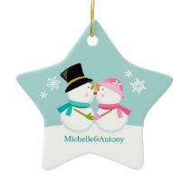 Kissing Snowmen Christmas Ceramic Ornament