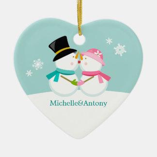 Kissing Snowmen Christmas Christmas Tree Ornament