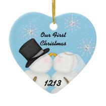 Kissing Snowmen Married Our 1st Chrismas Snowflake Ceramic Ornament