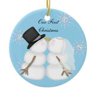 Kissing Snowmen Christmas Ornament