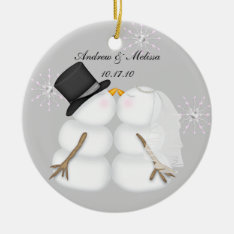 Kissing Snowmen Married Our First Christmas Ceramic Ornament at Zazzle