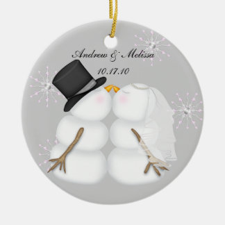 Kissing Snowmen Married Our First Christmas Ceramic Ornament