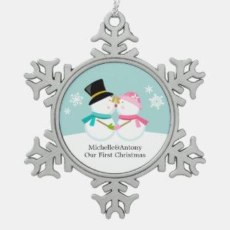 Kissing Snowmen Newlyweds First Christmas Snowflake Pewter Christmas Ornament