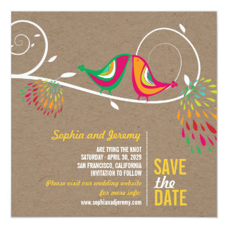 Kissing Summer Birds Photo Wedding Save The Date Card