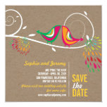 """Kissing Summer Birds Photo Wedding Save The Date 5.25"""" Square Invitation Card"""