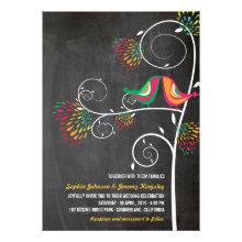 Kissing Summer Birds Whimsical Chalkboard Wedding Personalized Invitations