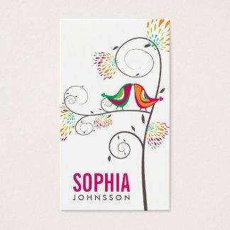 Kissing Summer Birds Whimsical Cute Business Card